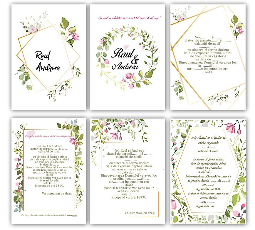 Invitatii De Nunta Tema Flori Invitatii